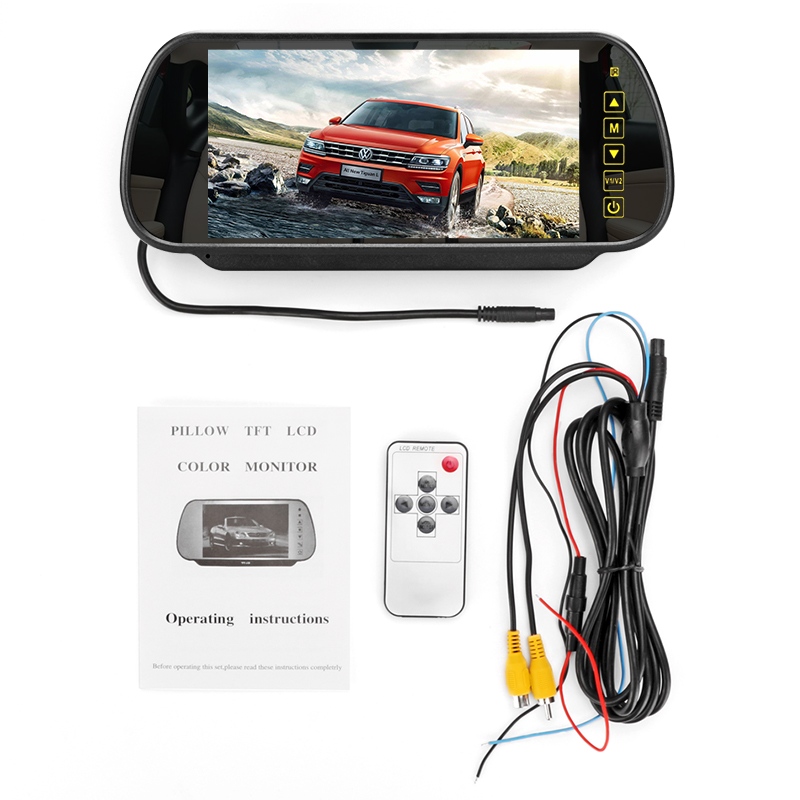Universal Reverse Parking System 7 Inch TFT LCD Screen Car Monitor Rearview Mirror Night Vision Rearview HD 2 Video Input in Car Monitors from Automobiles Motorcycles
