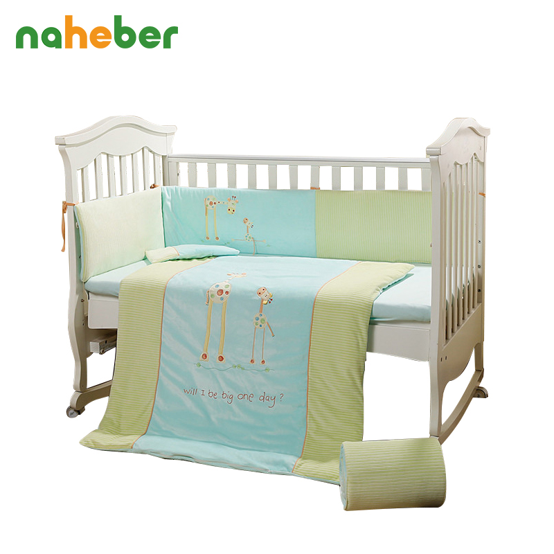 7pcs Cotton Baby Cot Bedding Set Cartoon Crib Bedding 4 Size Duvet Cover Pillow Bumpers Fitted Sheet 4 size in stock