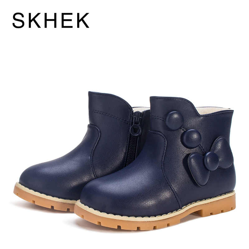 SKHEK รองเท้าเด็กสาวฤดูหนาวรองเท้าเด็กฤดูหนาวรองเท้าเด็กสำหรับสาวเด็กหนังลื่นอบอุ่นแฟชั่นแนวโน้มรองเท้าบู๊ต A551