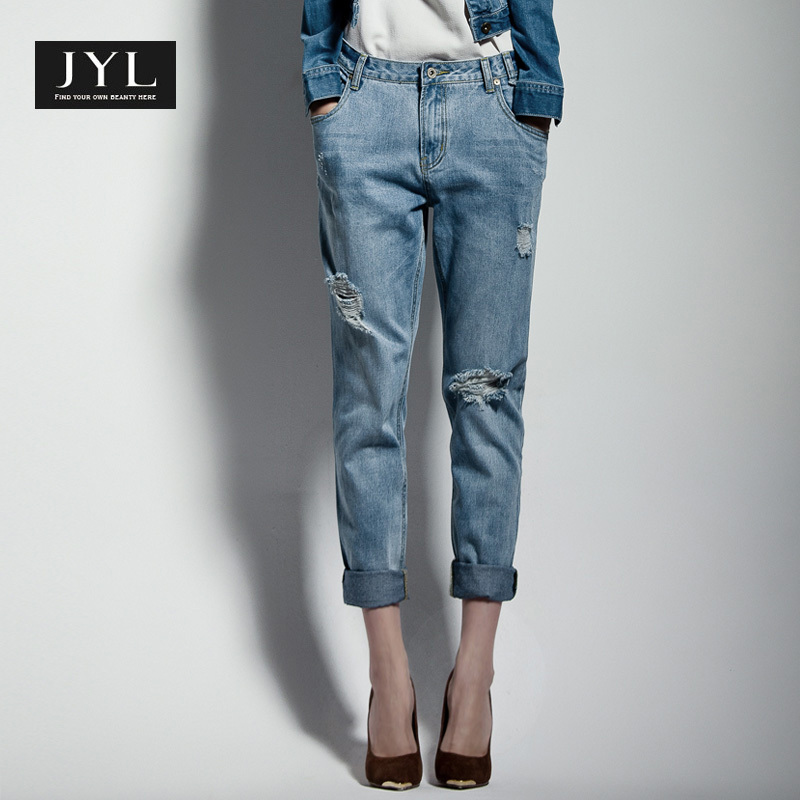 jyl jeans brand designer 2014 autumn winter boyfriend casual ripped jeans woman grungle. Black Bedroom Furniture Sets. Home Design Ideas