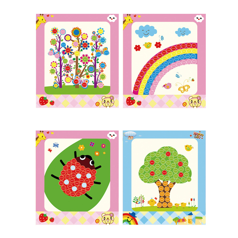 1pcs Baby DIY Button Beads Toys Stickers For Kid Kindergarten Nursery Educational Picture Handmade DIY Arts Toys For Children