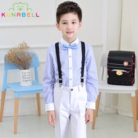 Brand Flower Boys Summer Wedding Overall Stripe Shirt Suits With Bowtie Formal School Performance Birthday Dress