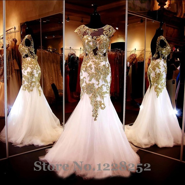 9d130910e9285 Elegant White Mermaid Evening Dresses Beaded Gold Appliques Cap Sleeve  Illusion Lace Maternity Evening Gowns Backless Prom Dress
