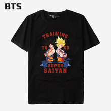 BTS Dragon Ball Z T-shirt Men Super Saiyan CAPSULE CORP Tee Shirt Men Summer Funny Tshirts Cotton Men Punk XXS 4XL