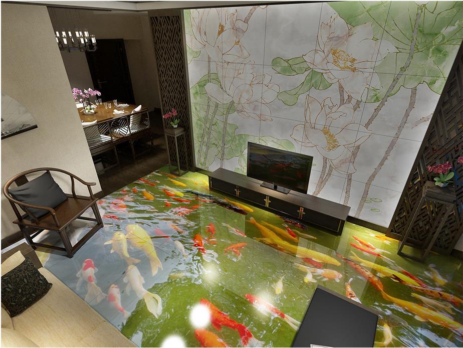 3d floor painting wallpaper floor painted underwater carp - Waterproof floor paint for bathrooms ...
