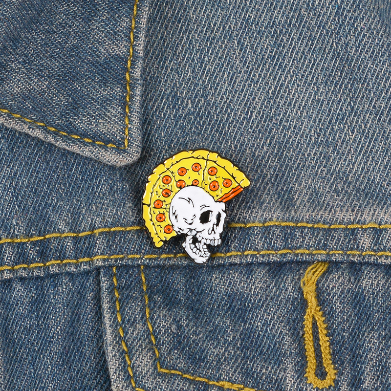 Cartoon Badges Vintage Pizza Skull Brooches For Women Men Punk Pins Jewelry Enamel Pin Denim Jackets Collar Badge Bag Trinkets