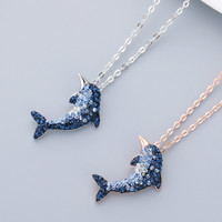 New Style S925 Sterling Silver Dolphin Necklace Blue Rhinestone Dolphins Pendant Clavicle Chain Couple Sweet Romantic Ornament