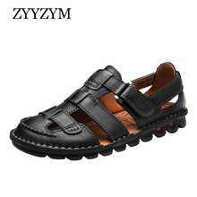 ZYYZYM Genuine Leather Men Sandals High-quality Luxury Summer Sandals Men Fashion Sandalias Beach Shoes Soft Bottom Breathable цена 2017