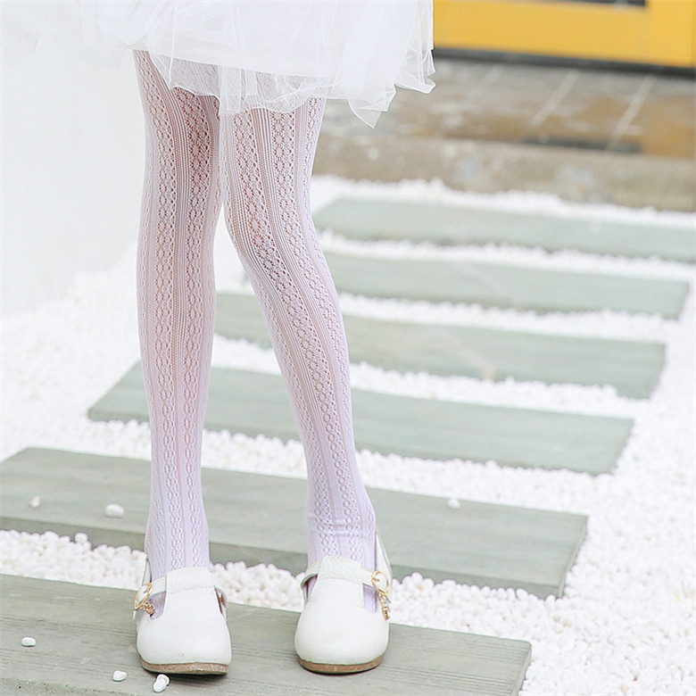 Children Pantyhose Girls Summer Ultra-thin Lace Hollow Ballet Dance Tights High Elasticity Children's Bottoming White Tights