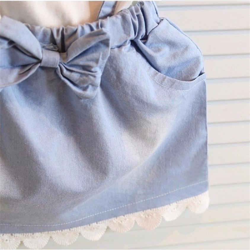 Baby Kids Girls Dress Princess Party Denim Cotton Fancy Flower Tutu Dresses
