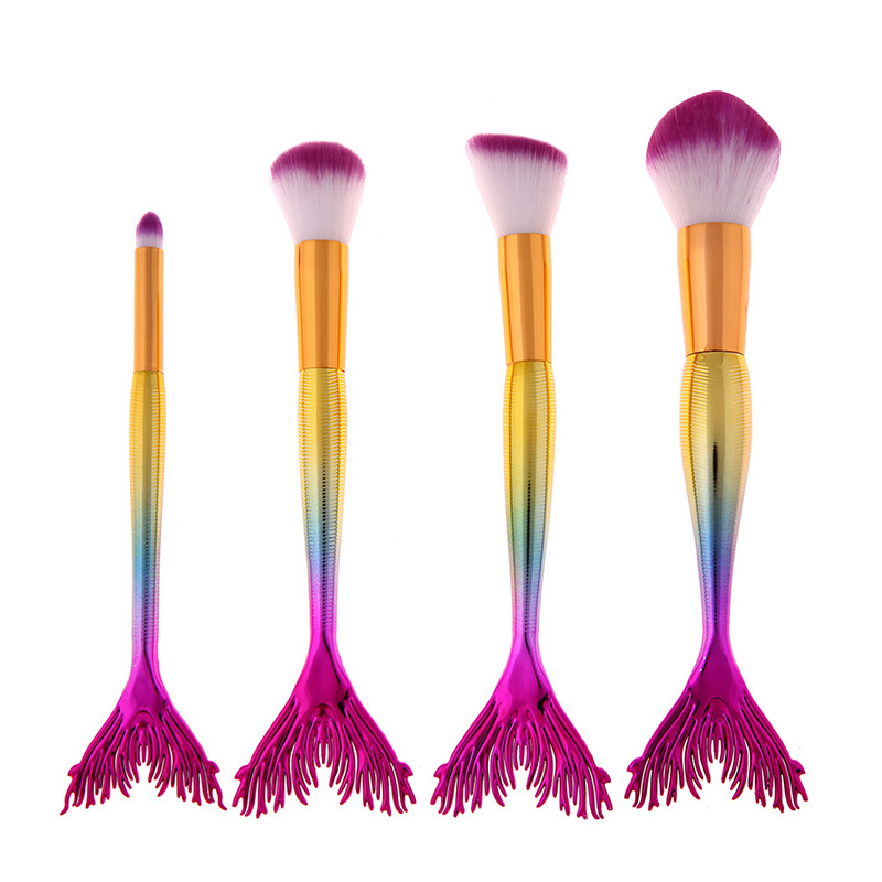 4PCs Smooth Mermaid Brushes Makeup Sets Colorful Fish Tail Powder Foundation Eye Lip Contour Brushes Kit Cosmetic Tool недорого