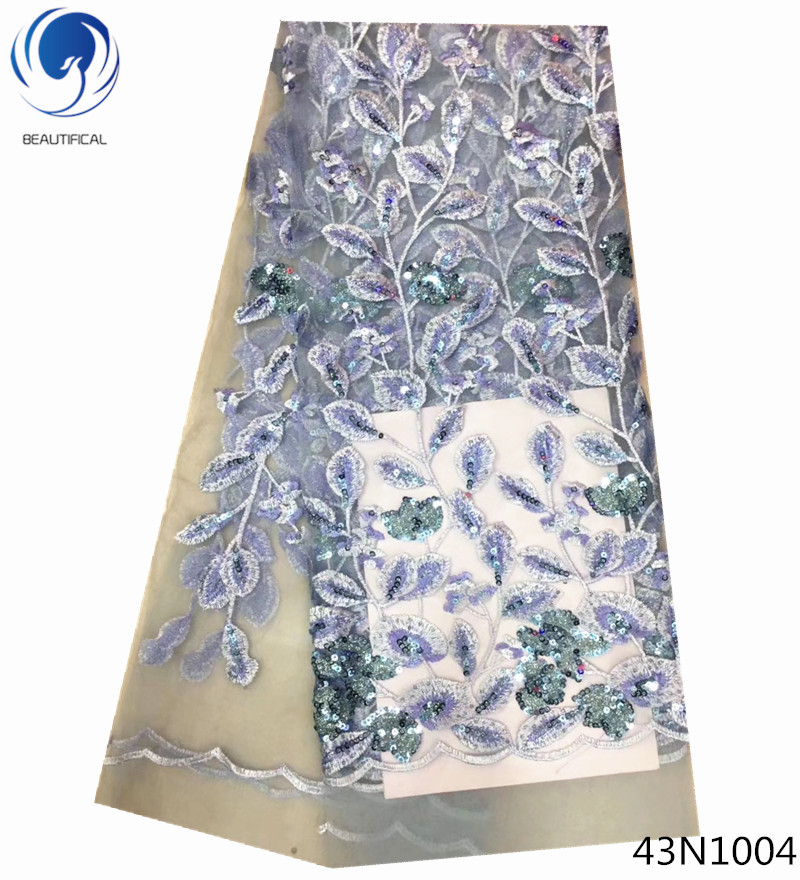 Beautifical african lace fabrics with sequin embroidered sequin lace fabric cheap high quality 5yards per lot for party 43N10Beautifical african lace fabrics with sequin embroidered sequin lace fabric cheap high quality 5yards per lot for party 43N10