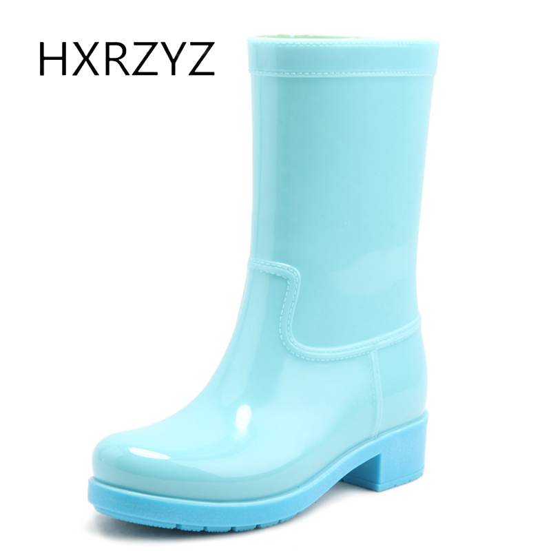 HXRZYZ rubber ankle boots female black rain boots spring/autumn fashion female PVC candy waterproof slip-resistant shoes women hxrzyz women rain boots spring autumn female ankle boots ladies fashion high top blue and red non slip waterproof women shoes
