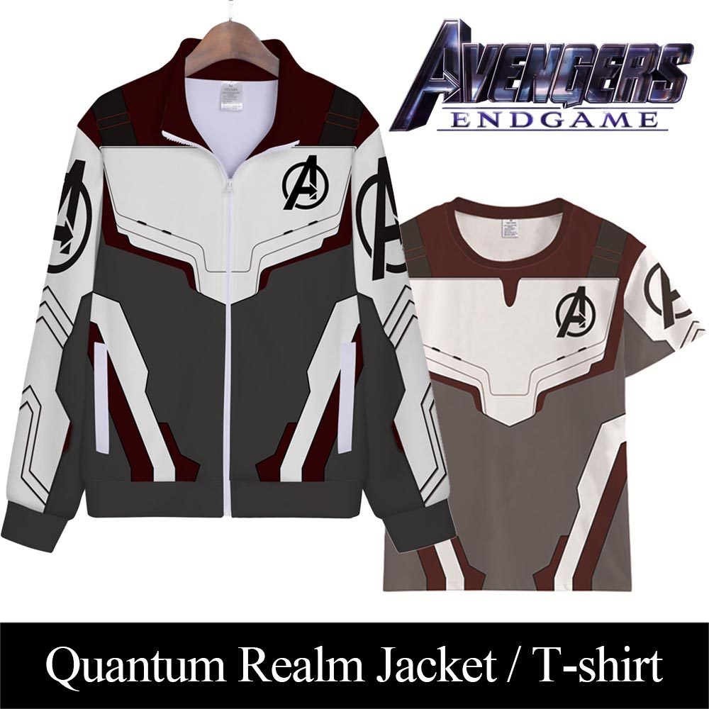 Avengers Endgame Quantum Realm Jacket T-Shirt Cosplay Adult Zip-up Jacket Without Hood Advanced Sweatshirt Avengers Uniform