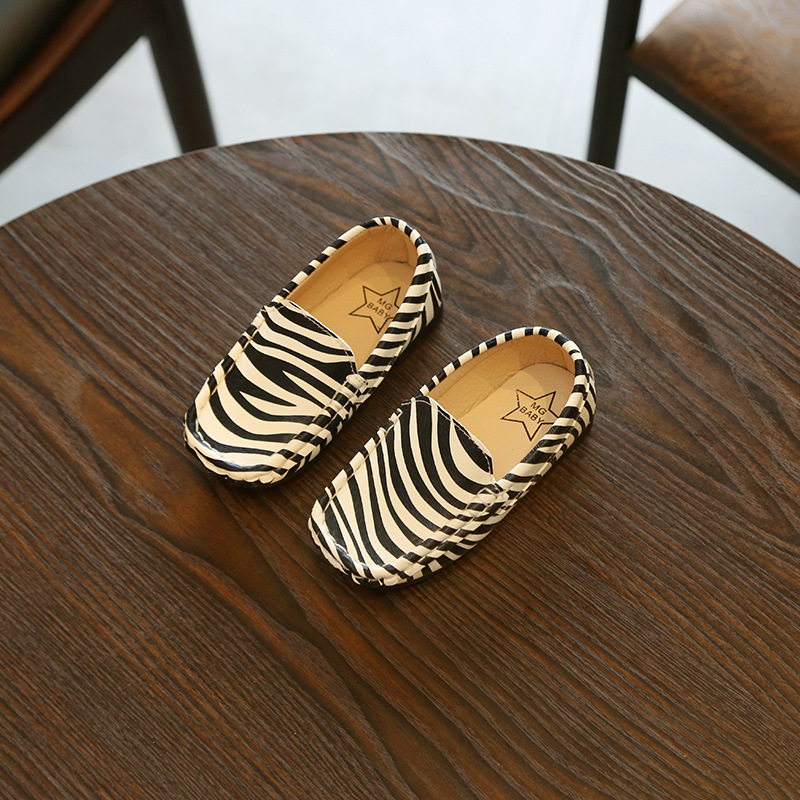 Zabra Boys Single Shoes Leopard Leather Shoes For Girls Flat Shoes Kids Shoes