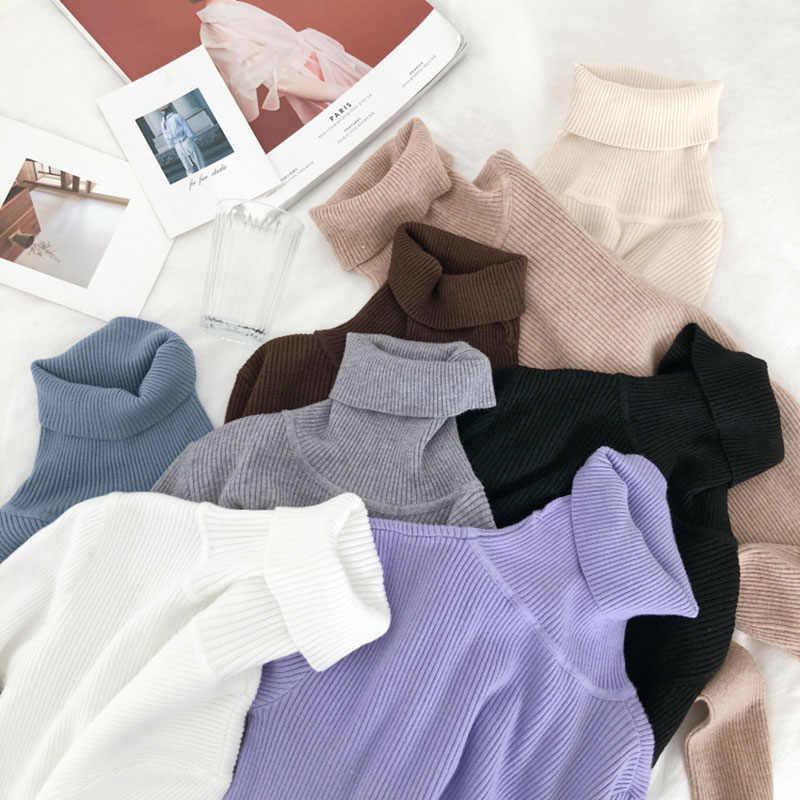 Suéter grueso de cuello alto cálido para mujer, suéter de punto de Otoño Invierno para mujer, jersey liso suave de alta elasticidad para mujer