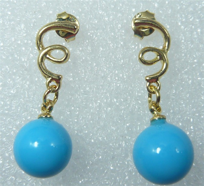 2 mental colors wholesale factory price 18kgp/ silver plated 10mm blue shell pearl earrings