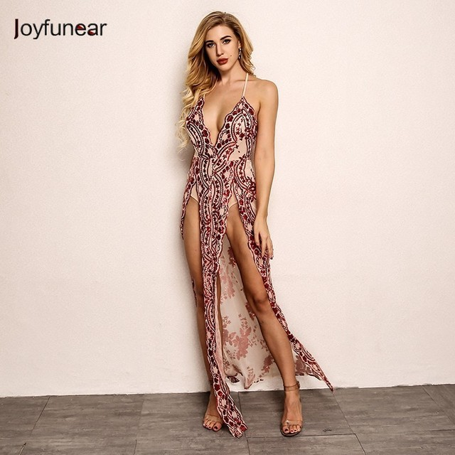 3910598e Joyfunear 2018 Fashion High Split V-neck Women Dress Bodycon Autumn Floral Red  Sequin Maxi