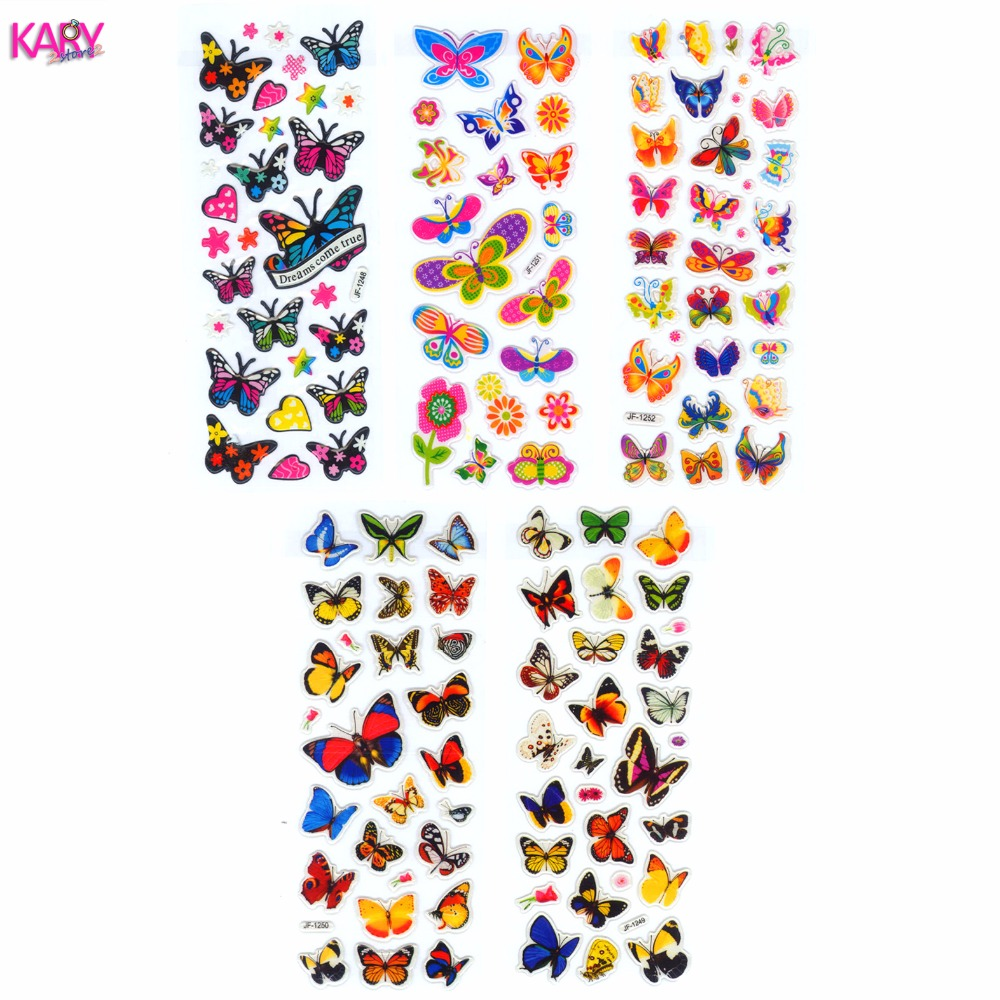 5 Sheets Scrapbooking Cute Kawaii Butterflies Emoji Teacher Reward Kids Children Toys Bubble Puffy Stickers Factory Direct Sales