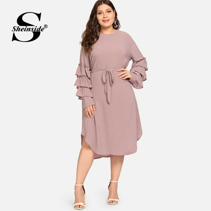 Sheinside Plus Size Layered Sleeve Pearls Beaded Dress Women 2019 Spring Elegant Flounce Sleeve Midi Dresses Ladies A Line Dress
