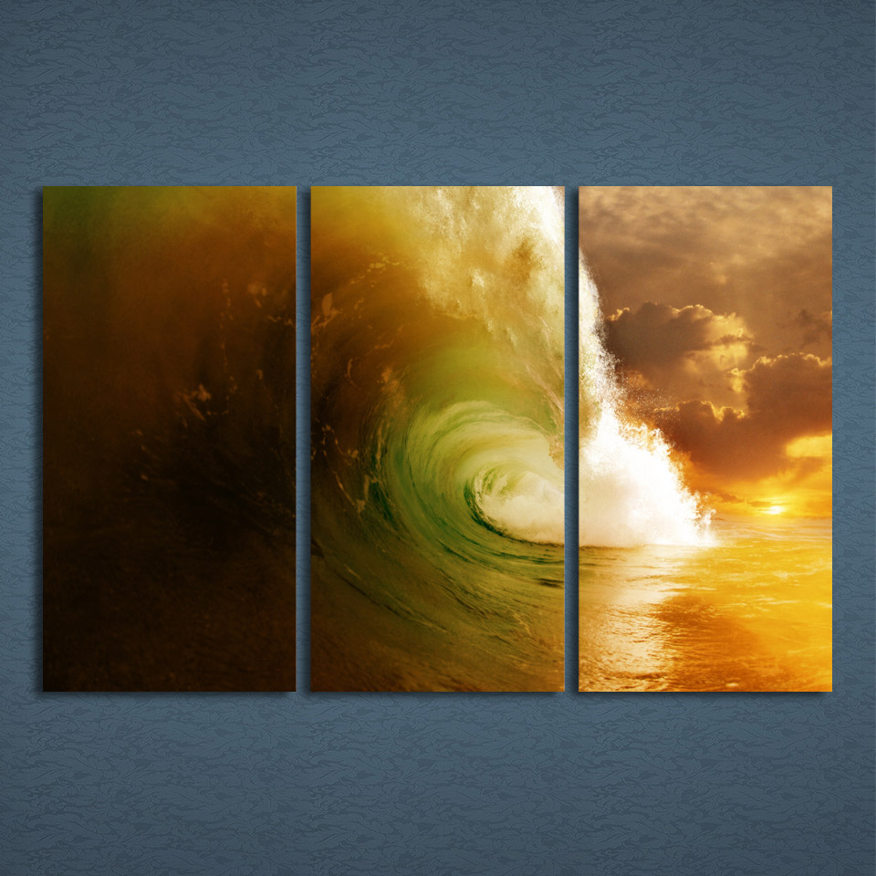 3 Panels Canvas Art Giant Wave Seascape Water Home Decor Wall Art ...