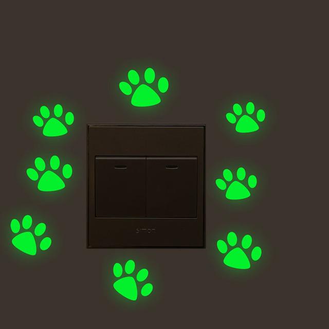 Glow In The Dark Puppy Paw Wall Sticker