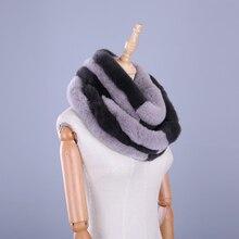 2017 Luxury Brand New Genuine Real Rex Rabbit Fur Women's Winter Warm Scarf Circle Scarves Patchwork Infinity Ring Snood Wraps