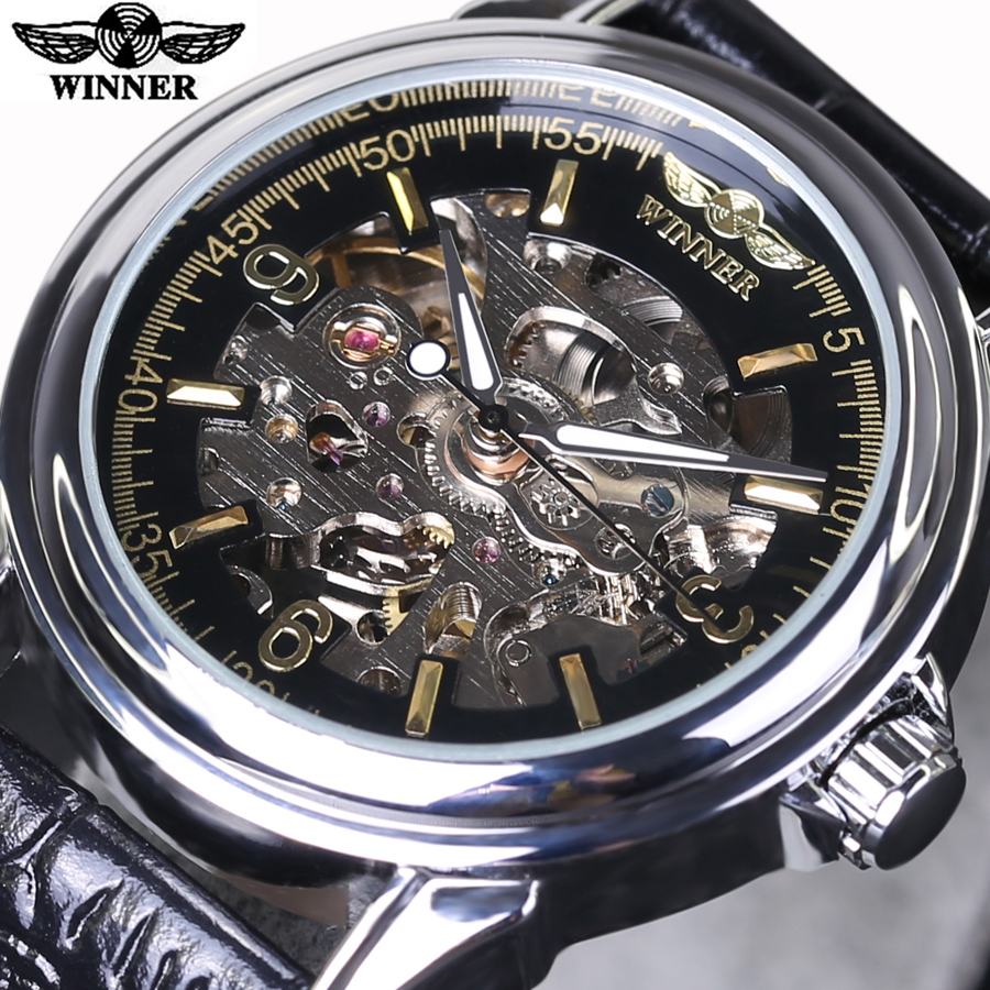 Winner Men Watches Top Brands Luxury Casual Men Watches Skeleton Automatic Watch mechanical Male Wristwatches Relogio Masculino luxury tevise brands men s mechanical wristwatches automatic male watches fashion skeleton steel man watch relogio clock