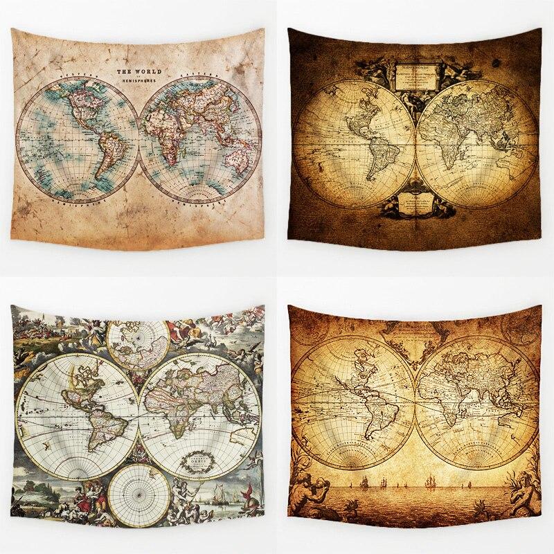 Comwarm Vintage Mittelalter Welt Karte Serie Muster Wand Hängen Renaissance Gedruckt Wandbild Gobelin Warmen Raum Dekor Kunst T113