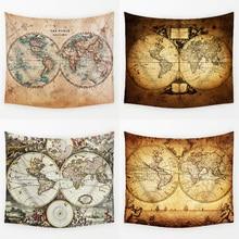 Comwarm Винтаж средневековье карта мира серии шаблон стене висит Ренессанс печатных росписи гобелен теплой комнате Декор Арт T113