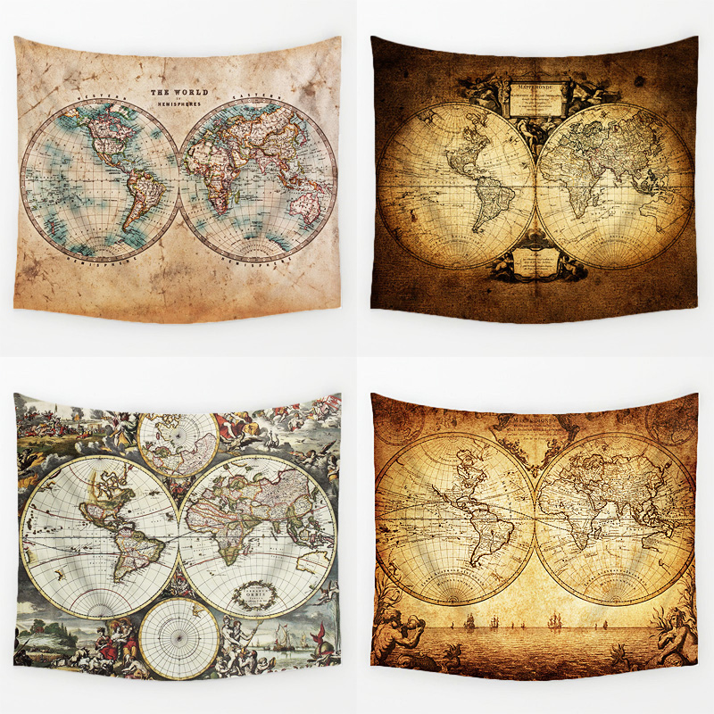 Comwarm Vintage Middle Ages World Map Series Pattern Wall Hanging Renaissance Printed Mural Gobelin Warm Room Decor Art T113