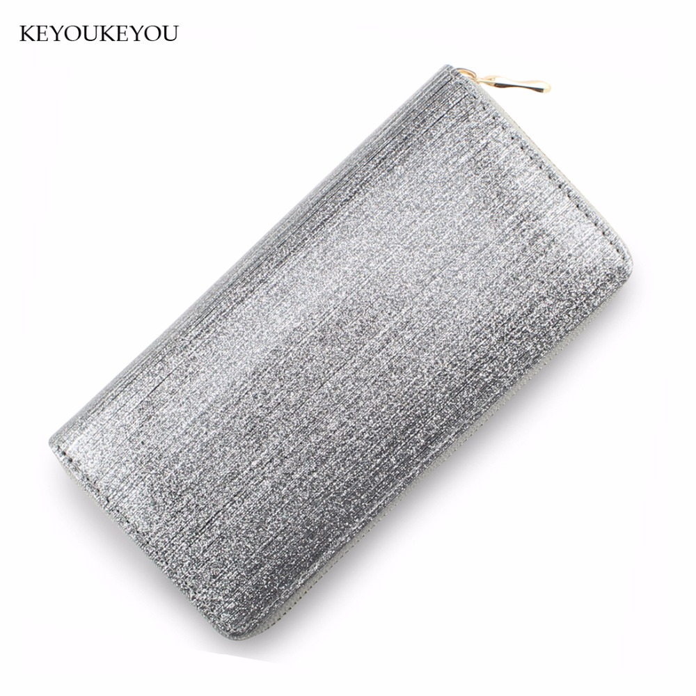 Glitter Wallets PU Leather Zipper Wallet Long Lady Clutch Bag Bling Credit Card Holder Coin Pocket Slim Rfid Female Purse