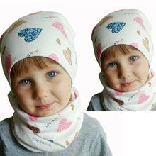 Kids Winter Scarf Newborn Baby Girls Heart Cotton Hat Cap Beanie With Neckerchief Gifts Turban Spring Warm