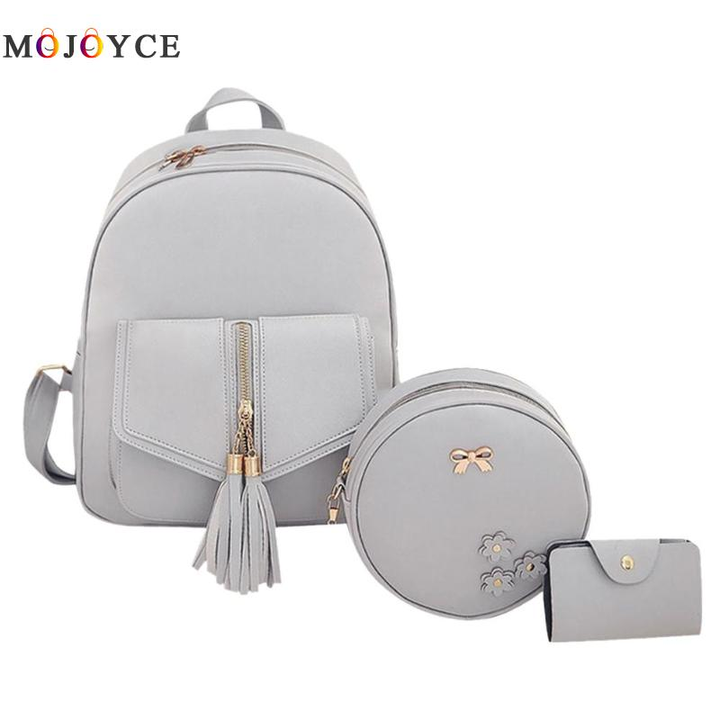 3pcs/set Tassels Bowknot Pu Leather Women Backpacks Cute School Backpacks For Teenage Girls Female Shoulder Bag #5