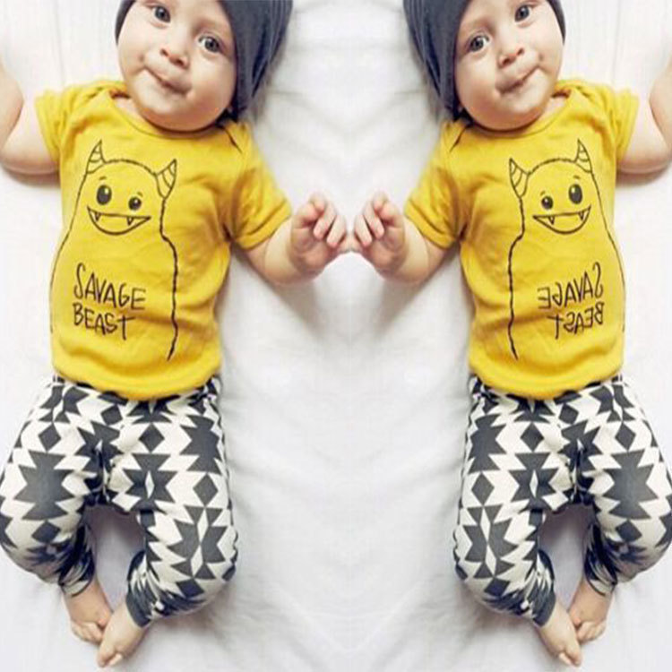 Baby Suits2016 summer style infant clothes baby clothing sets boy Cotton little monsters short sleeve 3pcs baby boy clothes