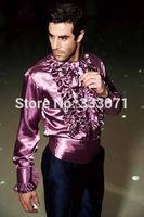 Purple Blue Men Shirt Formal Slim Fit Wedding Groom Shirts Performance Costume Colorful Men Shirt Terno Masculino 29