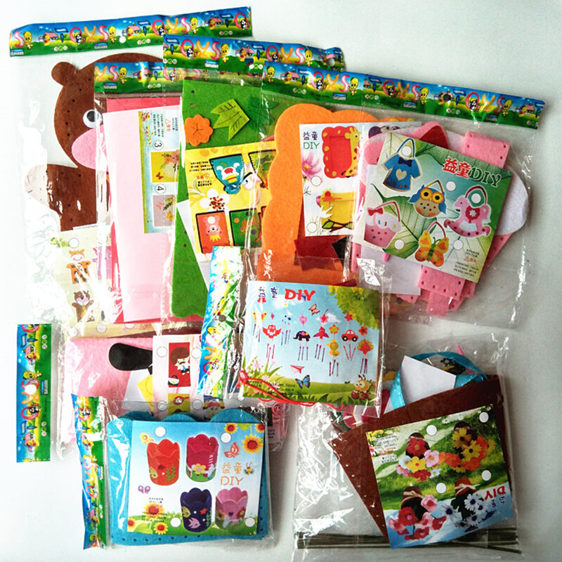 Happyxuan 9 Designs Lot Kids DIY Craft Kits Felt Fabric Handicraft Preschool Kindergarten Children Creative Educational
