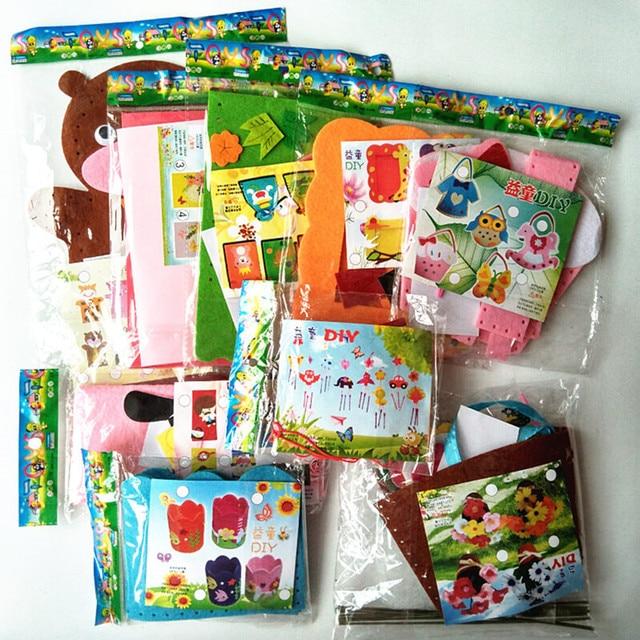 Happyxuan 9 Designs Lot Kids DIY Craft Kits Felt Fabric Handicraft Preschool Kindergarten Children Creative
