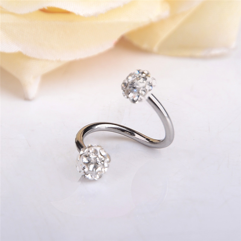 Twisted Silver Plated S Shape Surgical Steel Crystal Balls Nose Hoop Ring 18g Ear Piercing Earring Body Jewelry Пирсинг ушей