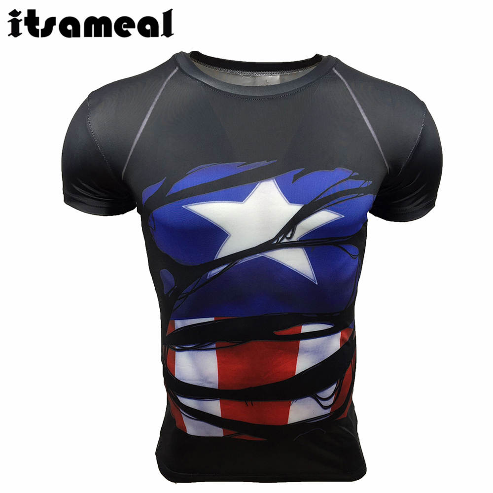 Captain America Shield Civil War Tee 3D Printed T-shirts Fitness Clothing Male Tops