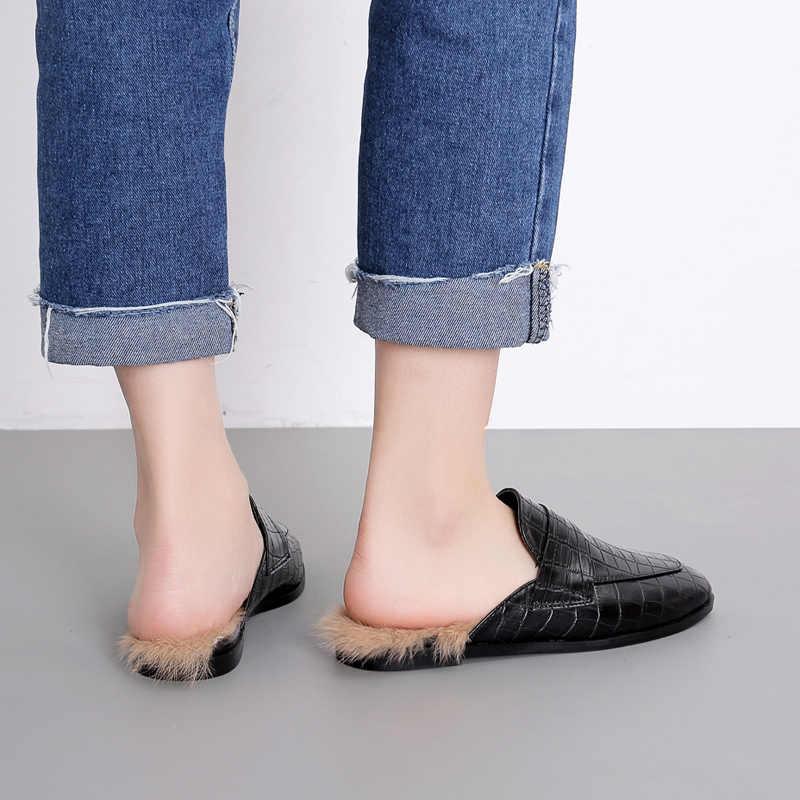 b9bb49b2d408 ... Fur Slippers Women Shoes flats Mule Fashion Luxury Slides Ladies fake  Crocodile skin Closed toe Sandalias ...