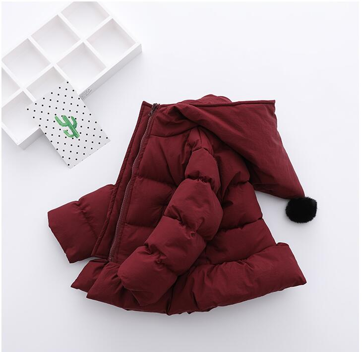 YR71007185 2017 Baby Jacket For Girls Winter Jackets Worm Hooded Girl Coat Bow Fashion Girl Outerwear Lolita Kids Jacket bow back hooded jacket