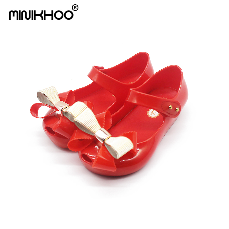 Mini Melissa 2018 New Mini Jelly Sandals Bow Sandals Girls Fish Mouth Princess Beach Candy Color Soft and Comfortable Shoes