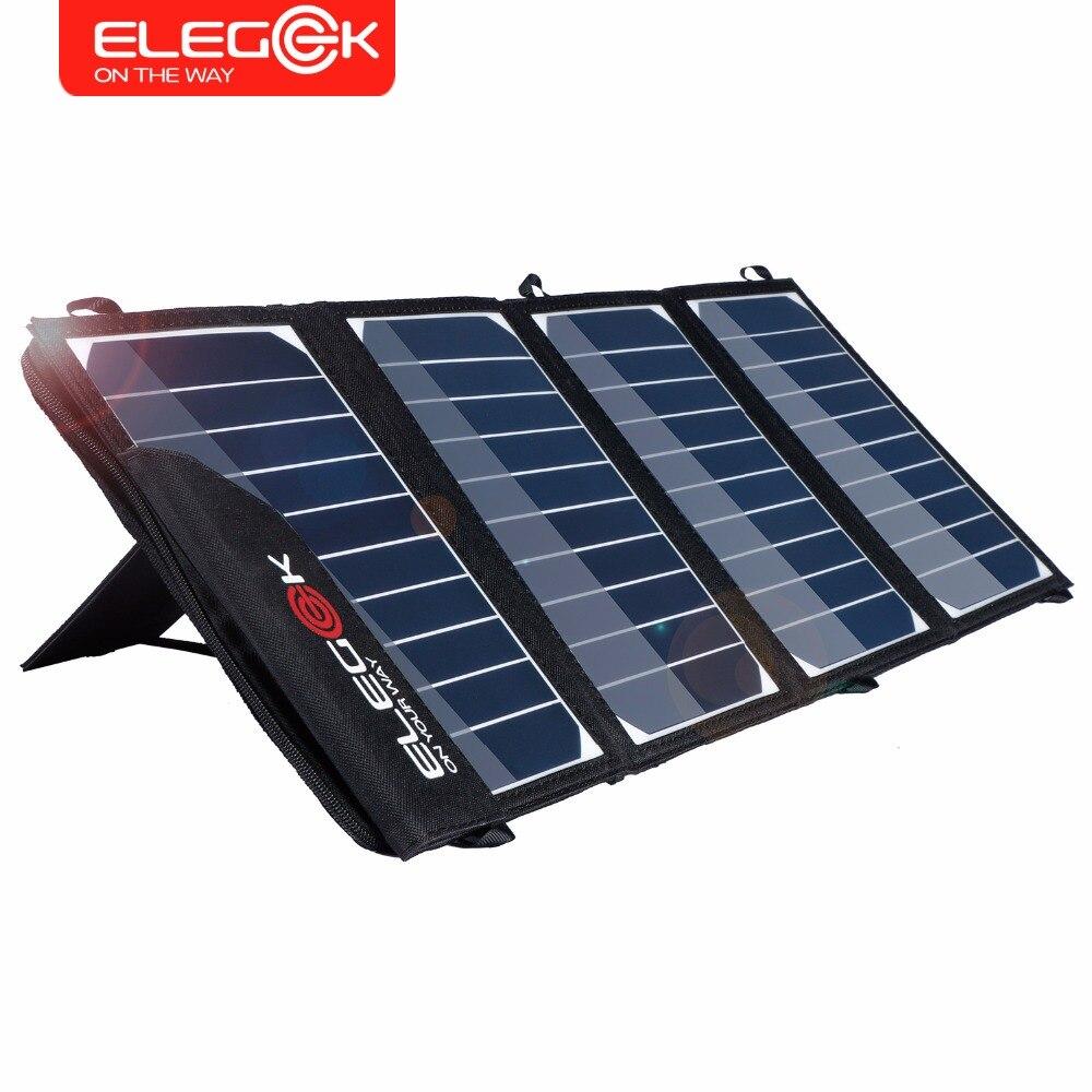 Prix pour ELEGEEK 22 W 5 V Portable Double USB Chargeur Solaire Pliable SUNPOWER Panneau solaire Chargeur avec Tuck Net et Stand pour Smart téléphone