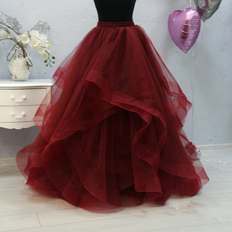 Formal Ruffles Puffy Long Wedding Tulle Skirts For Bridal Pretty Wine Red Women Tulle Skirt Photography
