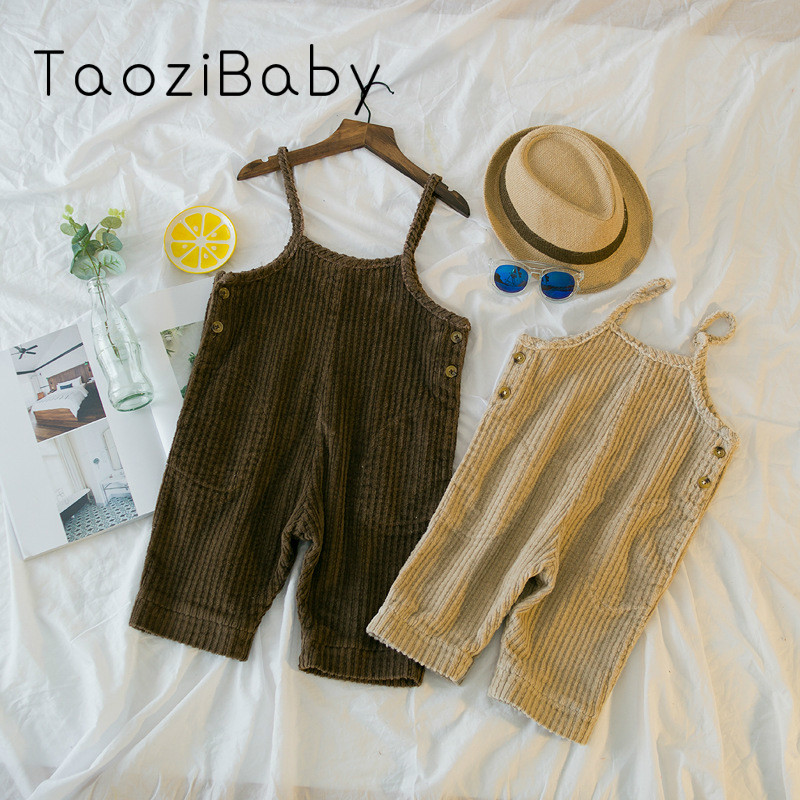 Spring new Korean men and women corduroy bib pants Chao fan harness seven pants Girl Jumpsuit Overall Little Girl Rompers