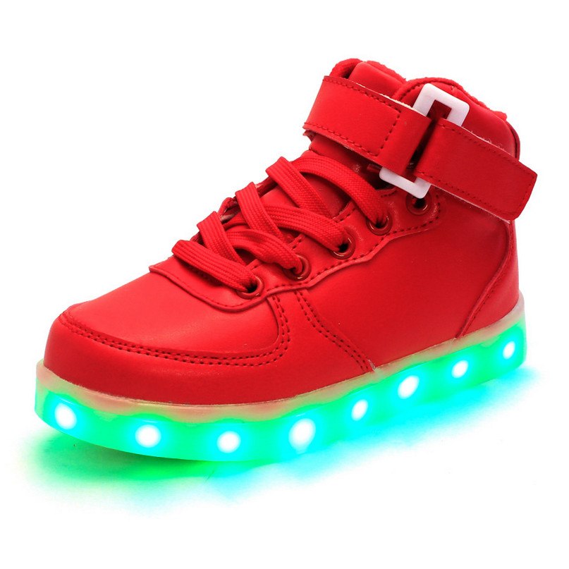 official photos ea7b0 6eb9c 2016 New Spring Big children shoes with light red Kids Light Up Sneakers  Led Shoes For Adults Enfant White High Top Led Sneakers