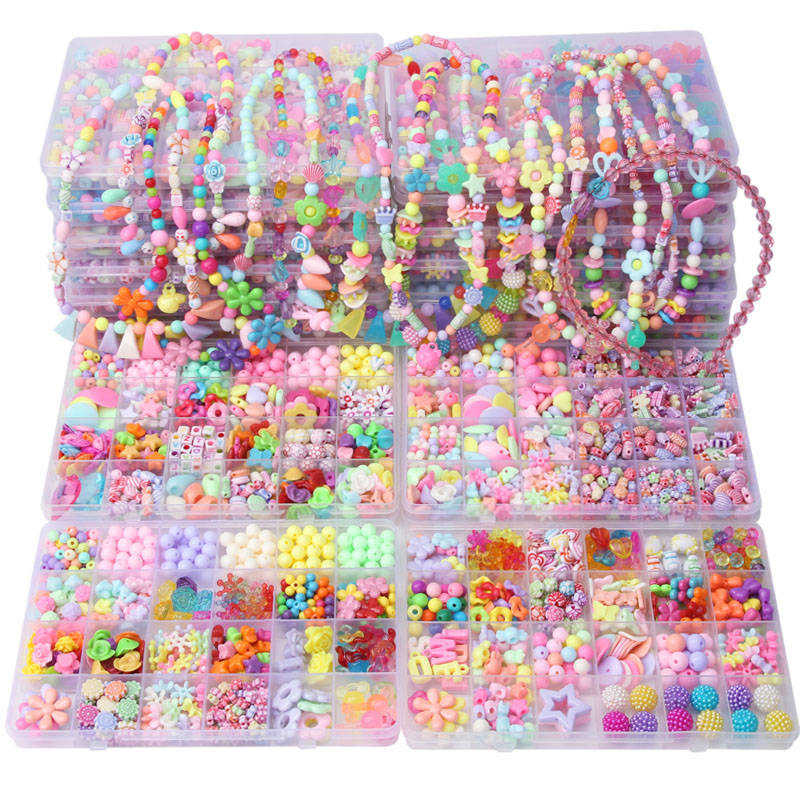 2 kutu Diy Boncuk Oyuncaklar Çocuklar için El Yapımı Kolye Bilezik Takı Yapımı Boncuk Kiti Seti Eğitici Oyuncaklar perles dökün enfant