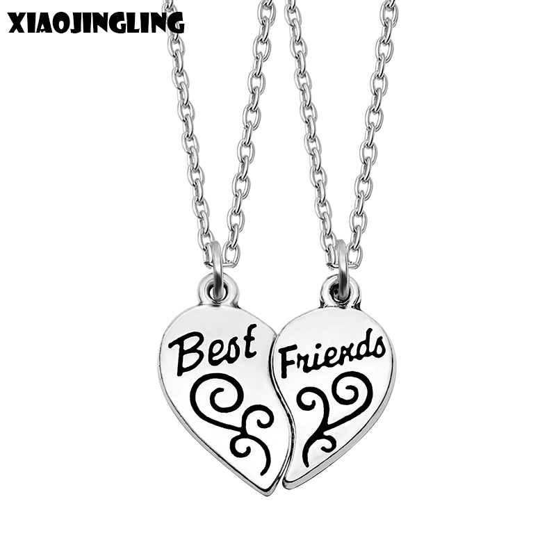 XIAOJINGLING 2017 New Style Fashion Friendship Broken Heart Parts 2 Best Friend Necklaces & Pendants Share With Your Friends image