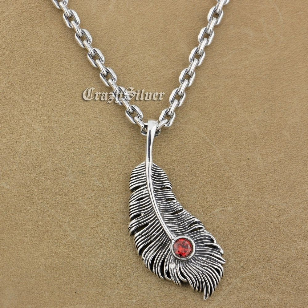 925 Sterling Silver Feather Red CZ Stone Mens Biker Rocker Punk Pendant 9V104 925 Sterling Silver Necklace 24 925 sterling silver lovely dumbo white cz stone pendant 9s107a 92 5
